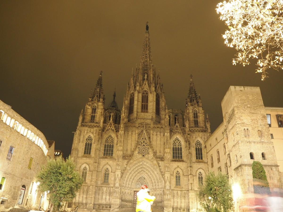 Die Kathedrale in Barcelona bei Nacht.