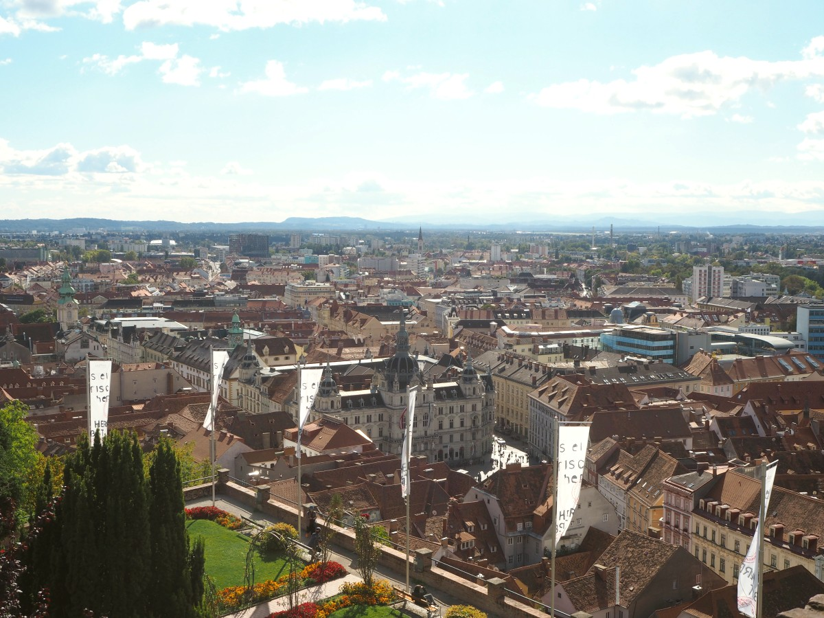 Ausblick über Graz vom Schloßberg